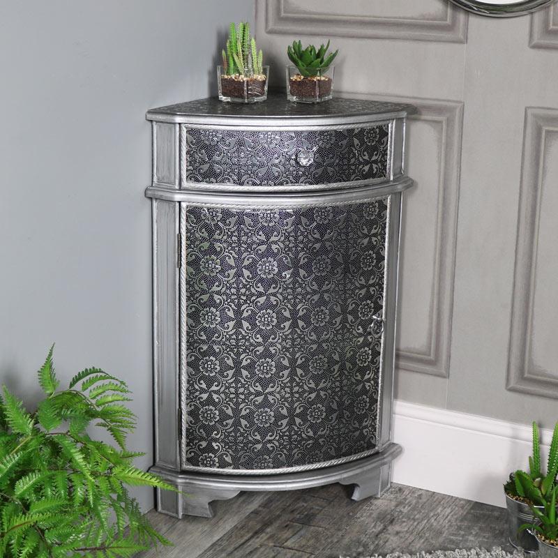 Silver Corner Cabinet - Monique Range