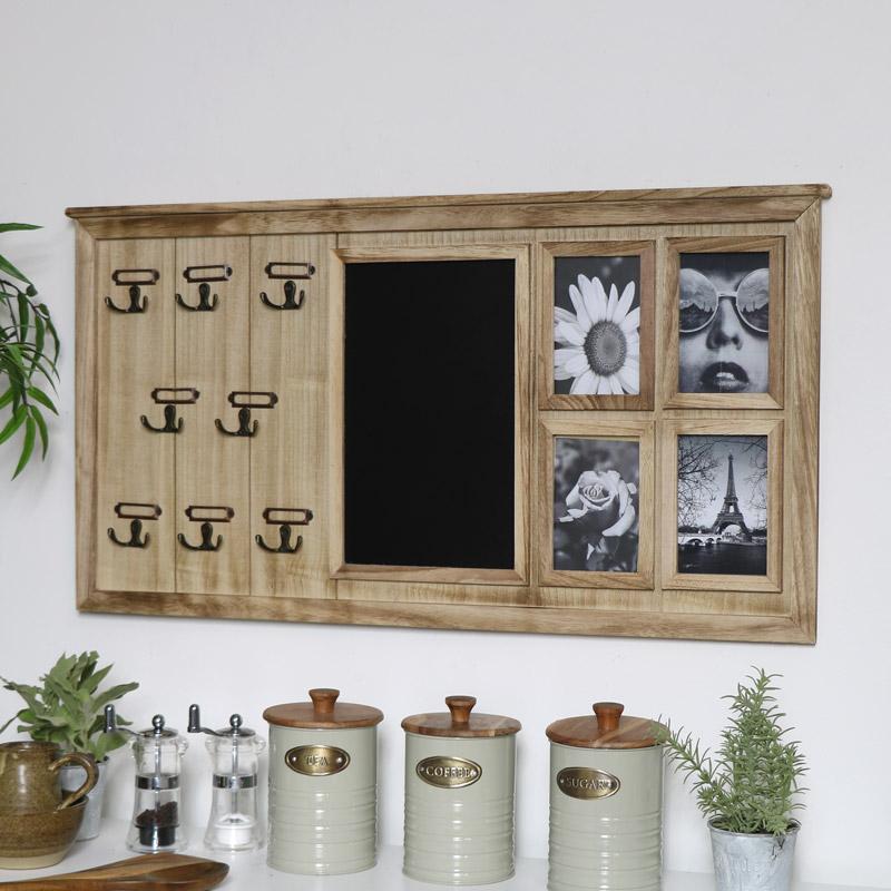Multi Purpose Blackboard, Key Hooks & Photo Frame Display