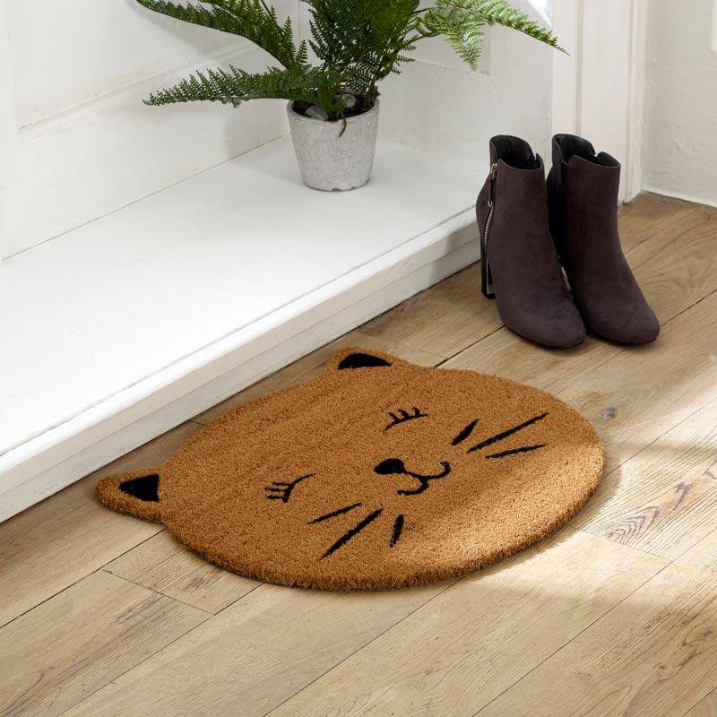 Natural Coir Cat Face Door Mat