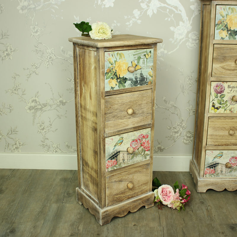 Natural Wooden Floral Tallboy Chest of Drawers - Belle Range