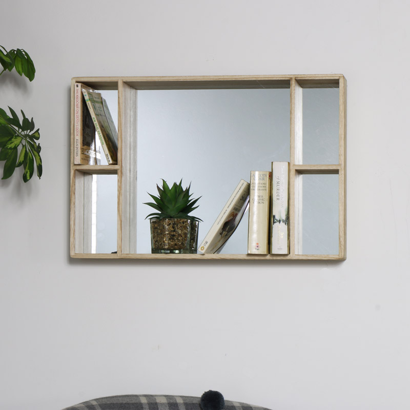 Natural Wooden Mirrored Display Shelf