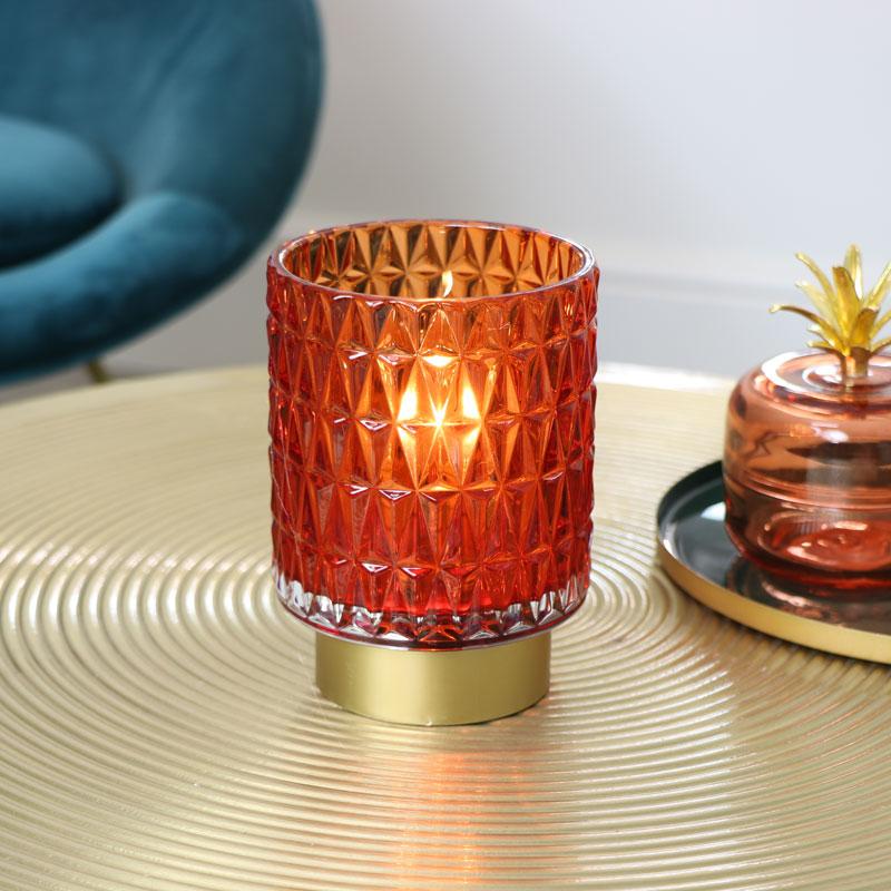 Orange & Gold Glass LED Light