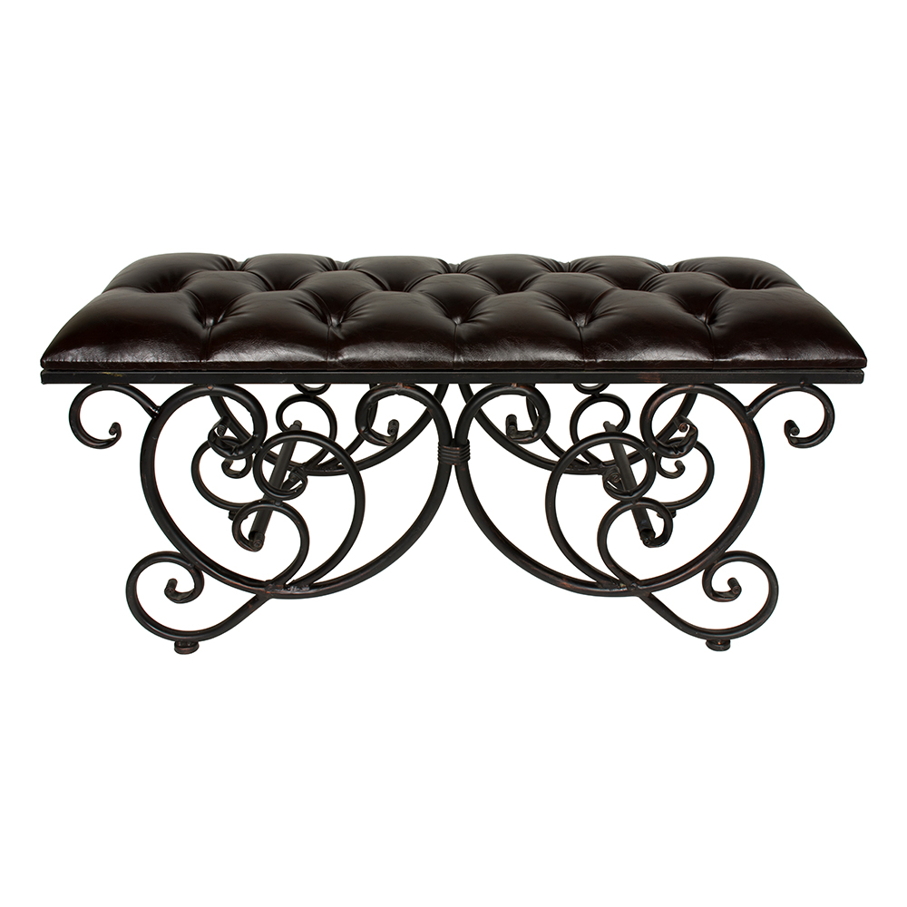 Ornate Brown Faux Leather Bench
