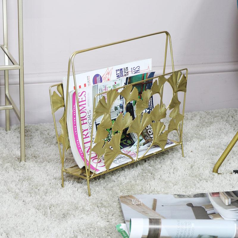 Ornate Gold Magazine Rack