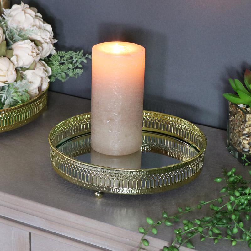 Ornate Gold Mirrored Display Tray 20cm x 20cm