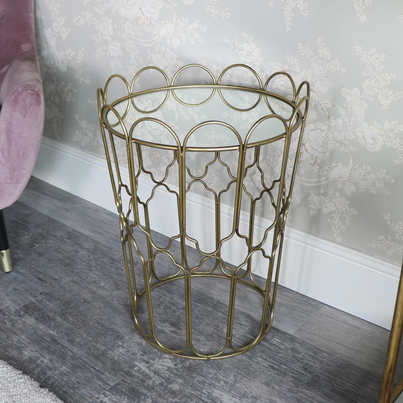Ornate Gold Mirrored Side Table