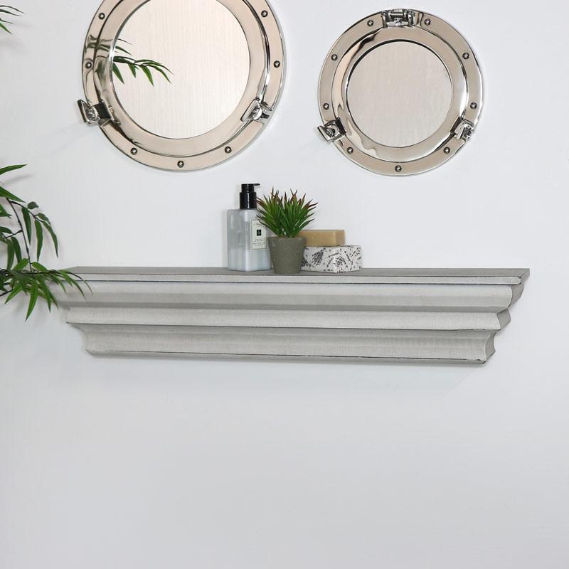 Ornate Grey Mantel Shelf