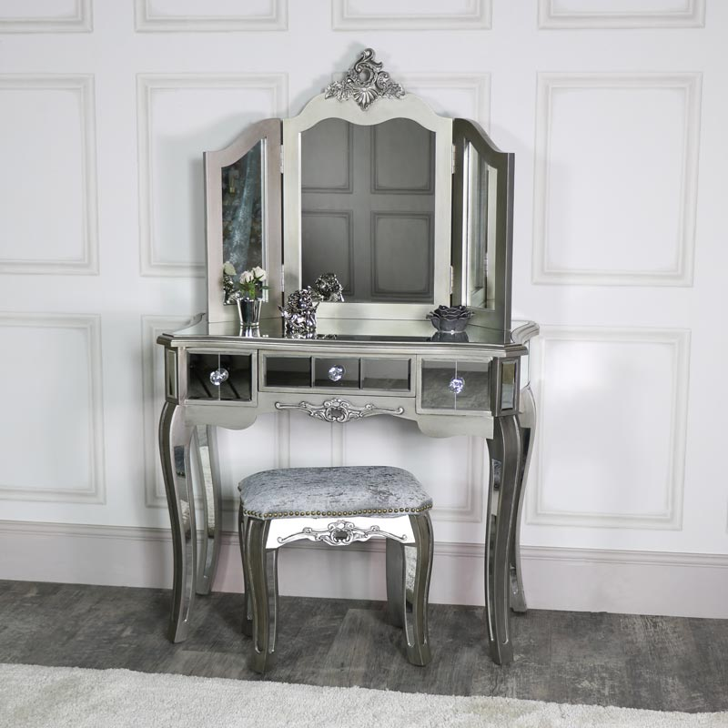 Ornate Mirrored 3 Drawer Dressing Table, Stool and Mirror Bedroom Furniture Set - Tiffany Range