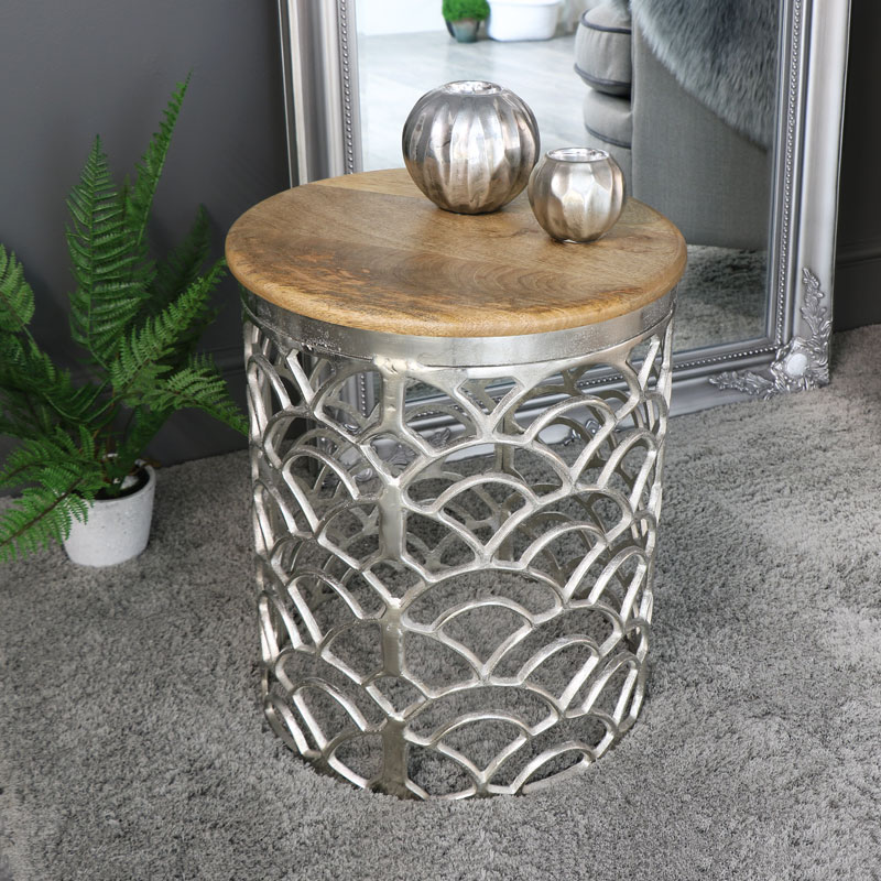 Ornate Round Silver Occasional Table