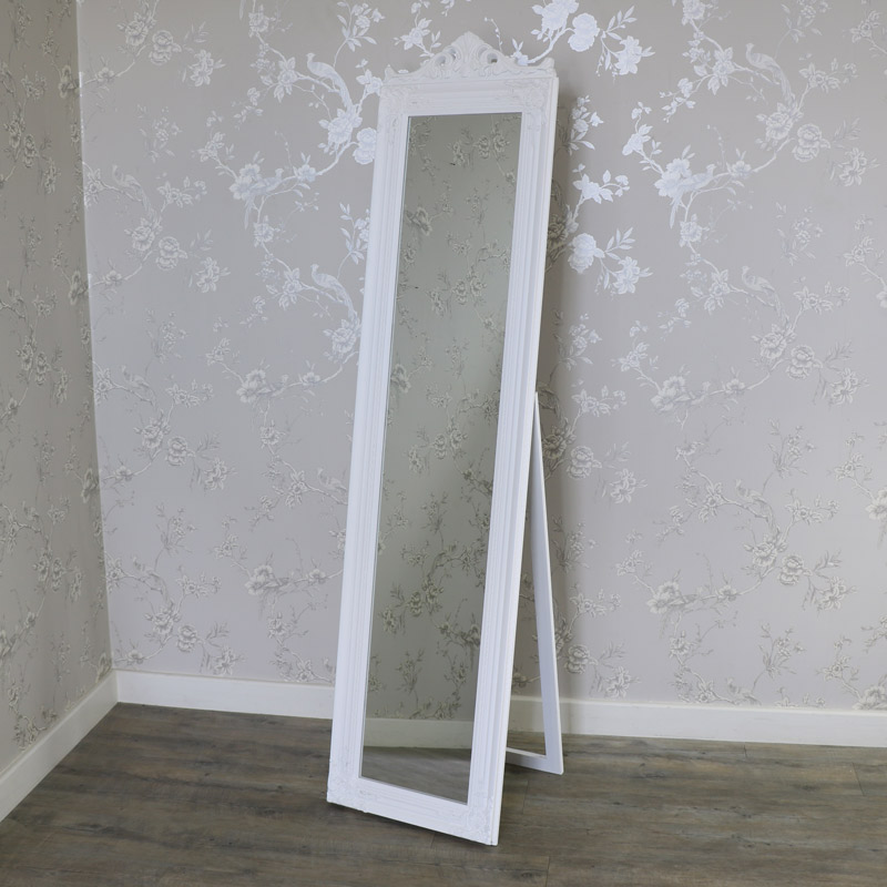 White Full Length Freestanding Cheval Mirror 44cm x 180cm