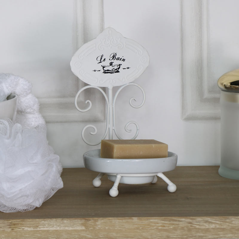Ornate White 'Le Bain' Soap Dish Holder