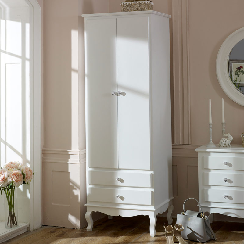Ornate White Vintage Slim Double Wardrobe - Lila Range