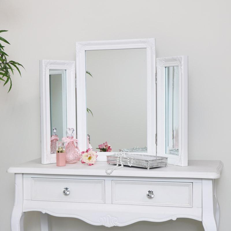 Ornate White Vintage Triple Dressing Table Mirror 55cm x 74cm