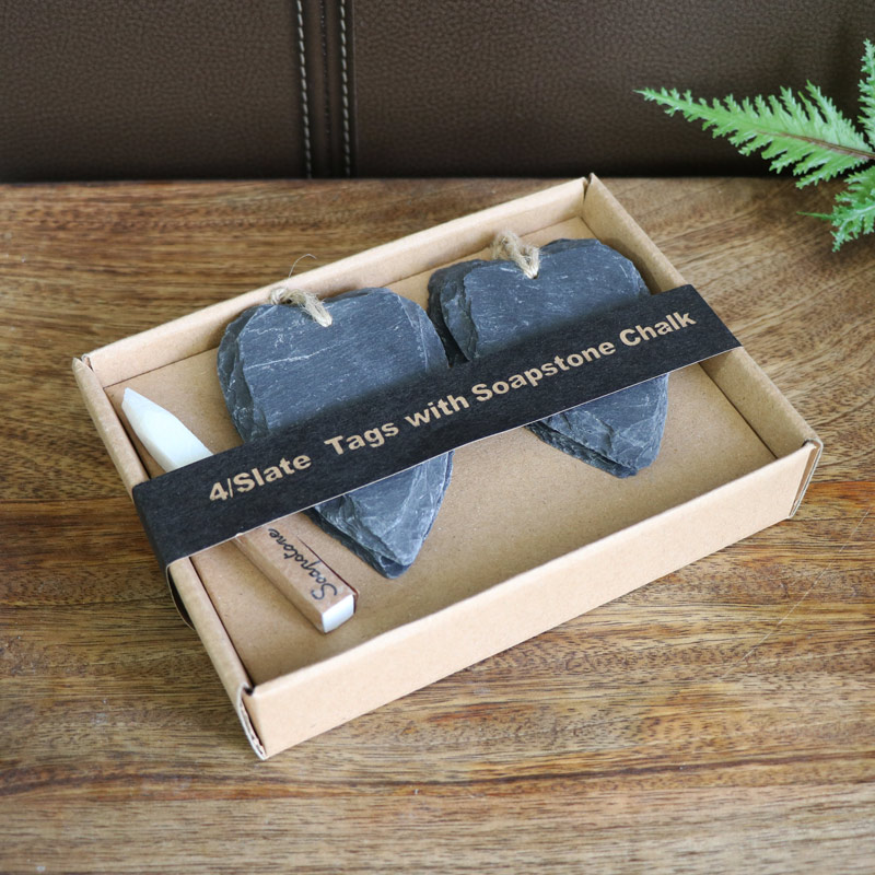 Pack of 4 Grey Slate Hanging Heart Tags with Chalk