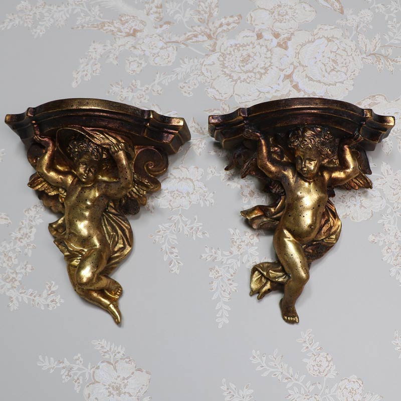 Pair of Antique Gold Cherub Wall Sconces