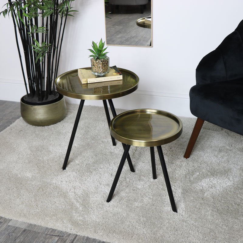 Pair of Black & Gold Round Side Tables