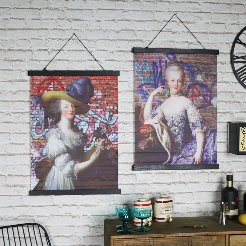 Pair of Boho Style Marie Antoinette Wall Scroll Prints
