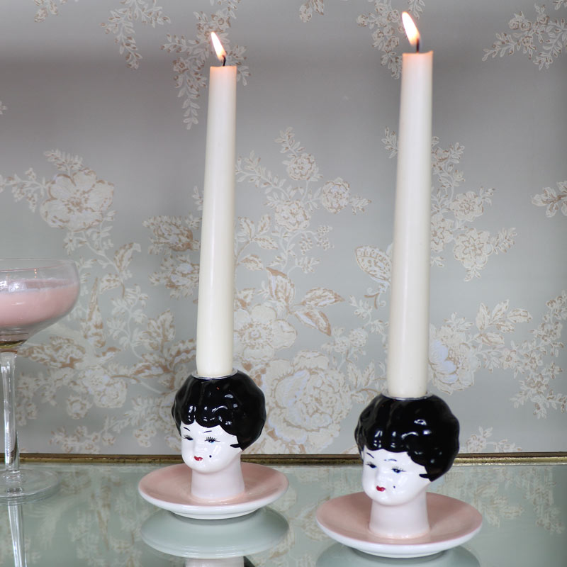 Pair of Boudoir Doll Head Candlesticks