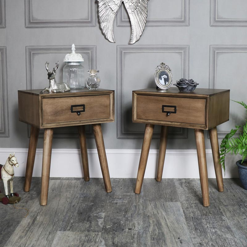 paar von holz 1 schublade bett tischlampe retro urban b ro schlafzimmer m bel ebay. Black Bedroom Furniture Sets. Home Design Ideas