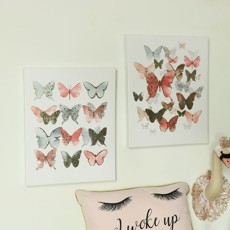 Pair of Butterfly Prints on Canvas