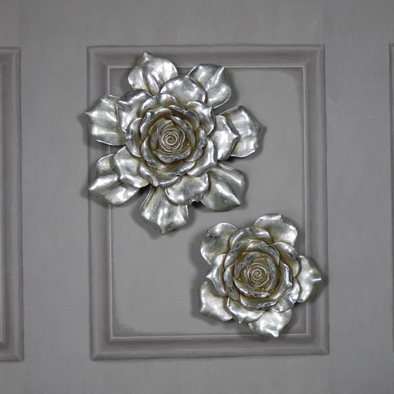 Pair of Decorative Antique Silver Flower Wall Art