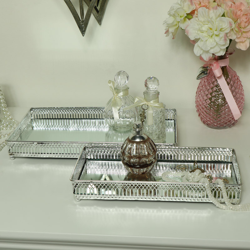 Pair of Decorative Silver Mirrored Display Trays