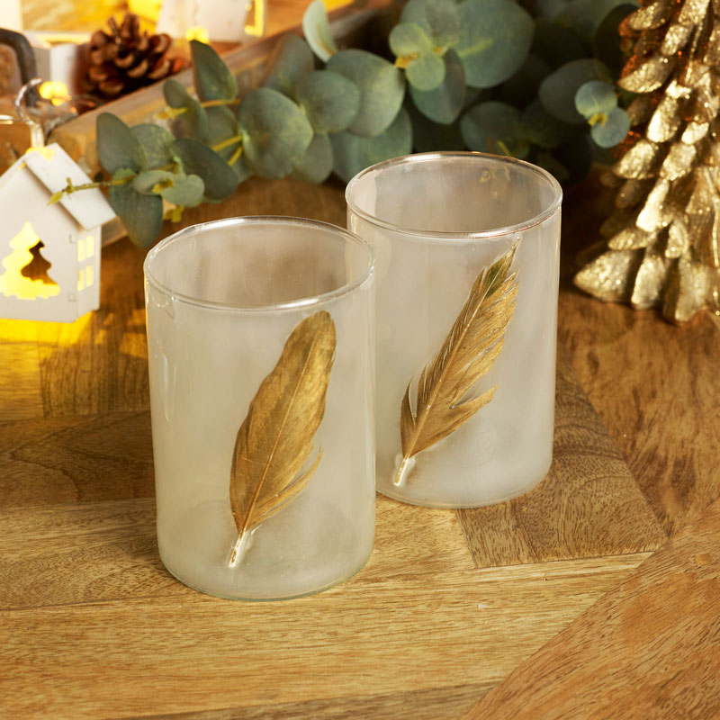Pair of Glass Gold Feather Tealight Holders