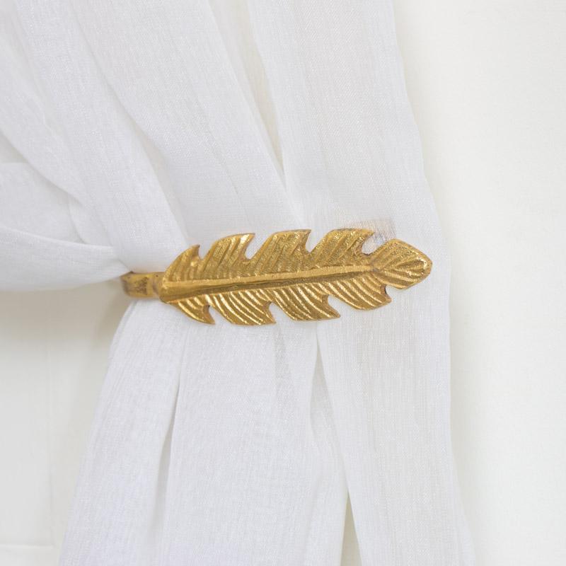 Pair of Gold Feather Curtain Holdbacks