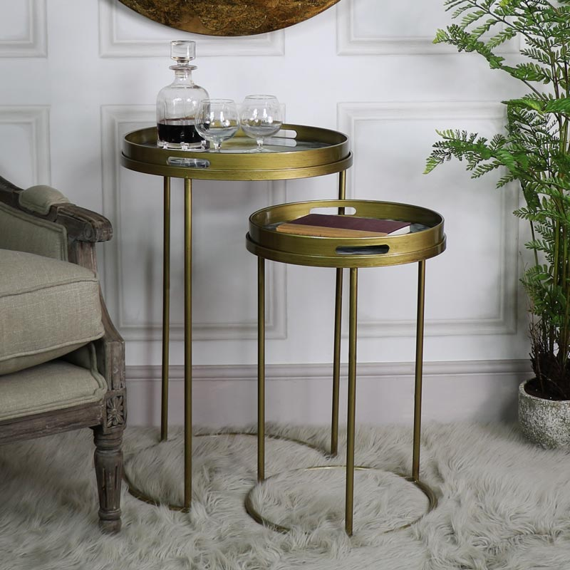 Pair of Gold Marble Topped Nested Side Tables