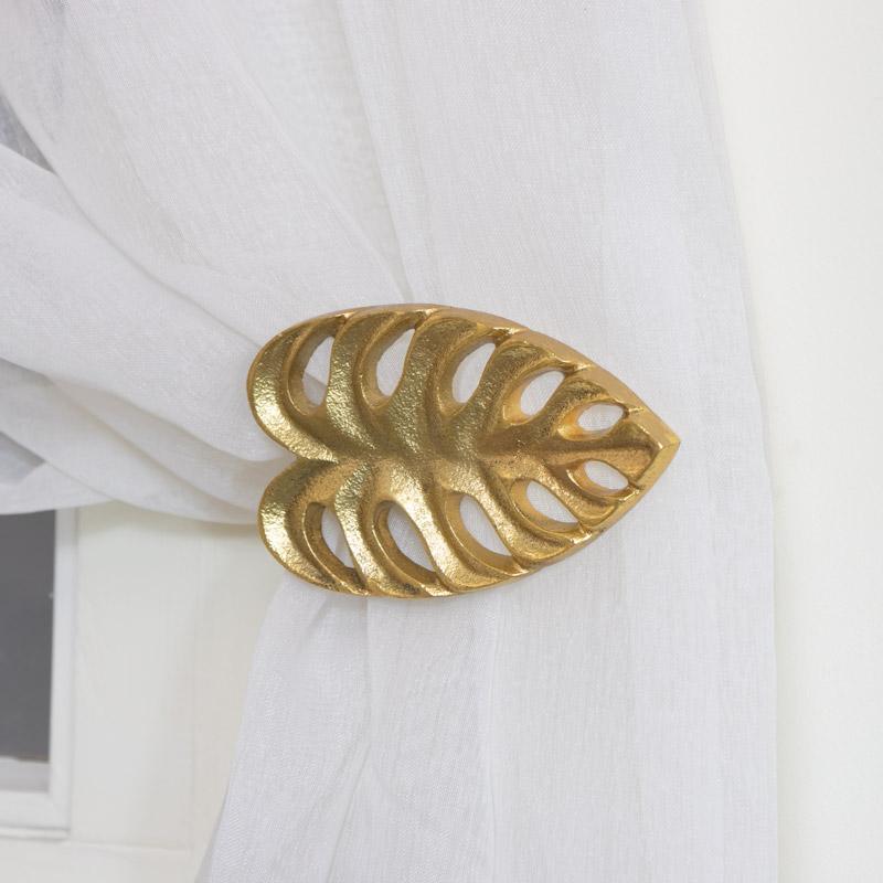 Pair of Gold Monstera Leaf Curtain Holdbacks