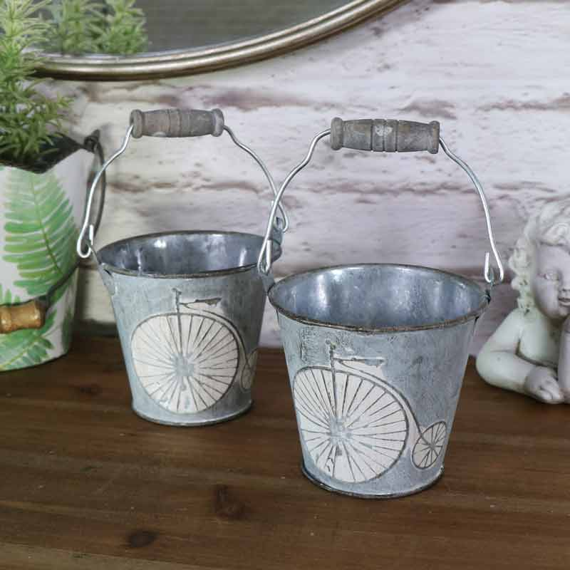 pair of small decorative grey metal bucket pail holder