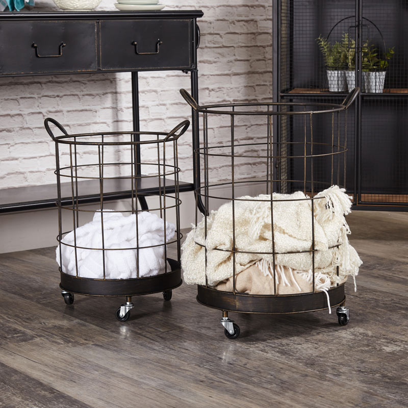 Pair of Industrial Storage Baskets on Wheels