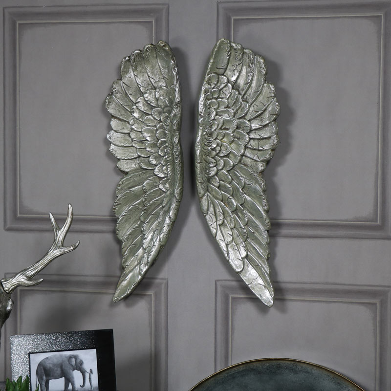 Pair of large silver gilt angel wings vintage style wall for Angel wings wall decoration uk