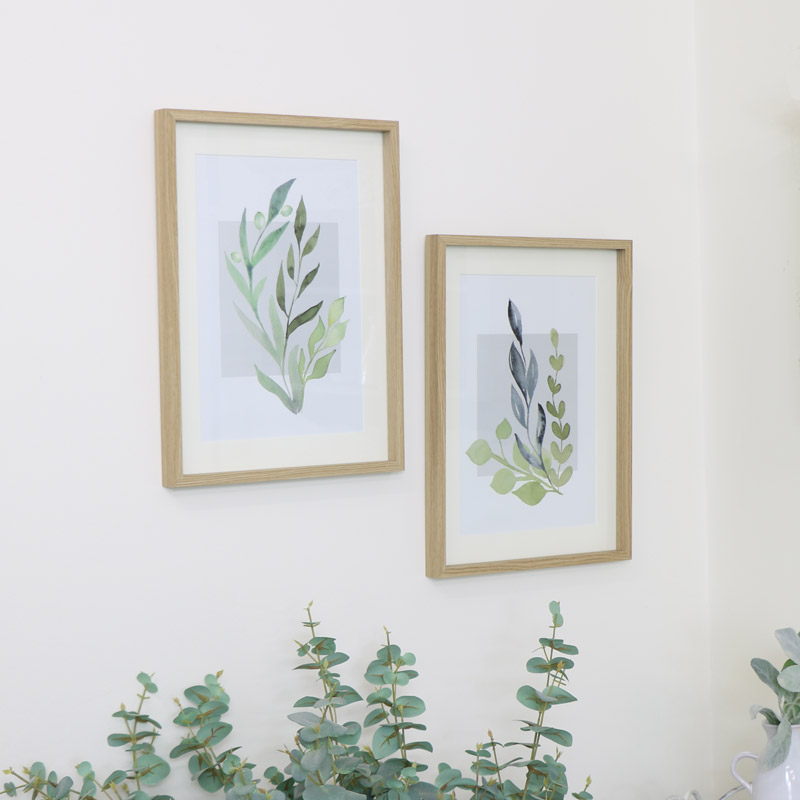 Pair of Large Framed Botanical Leaf Wall Prints