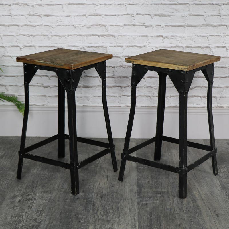 Pair of Retro Industrial Bar Stools