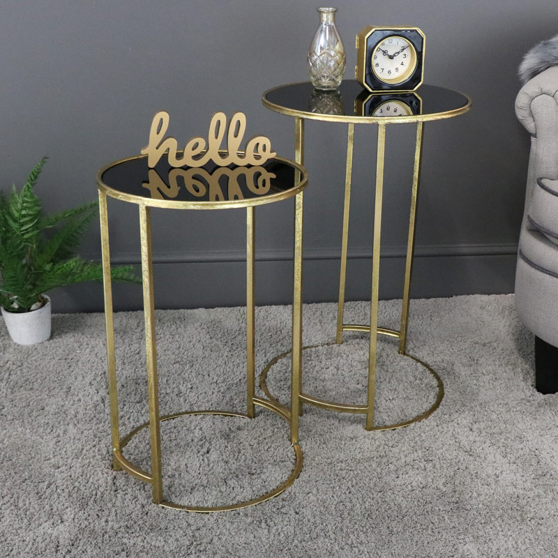 Pair of Round Gold & Black Glass Nested Tables