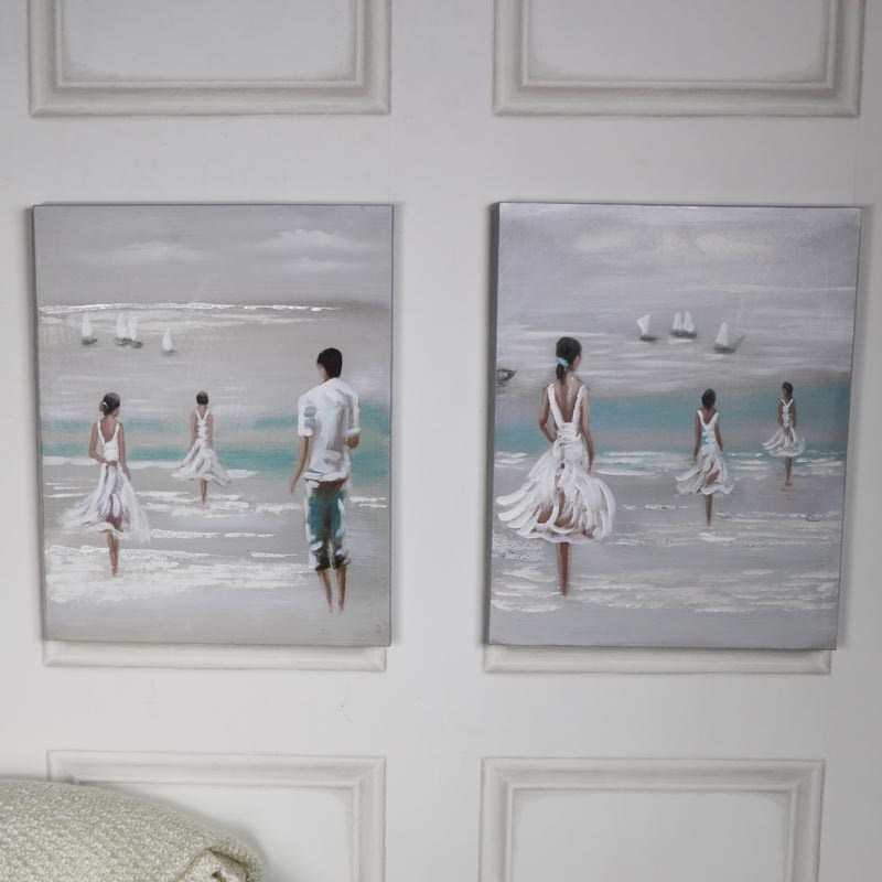 Pair of Seashore Wall Art Canvas Paintings