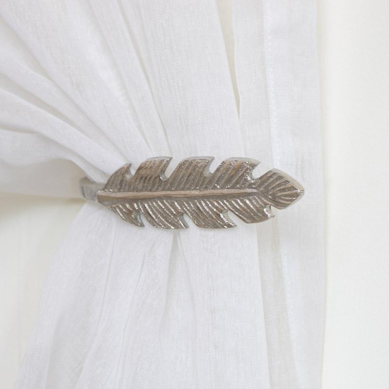 Pair of Silver Feather Curtain Holdbacks