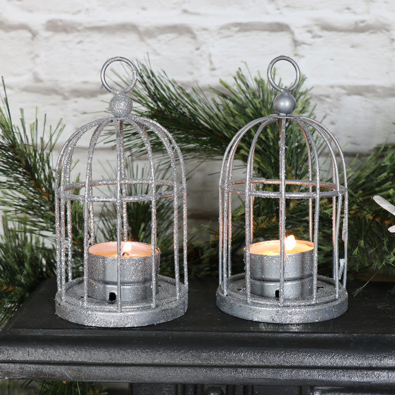 Pair of Silver Glitter Birdcage Tealight Holders