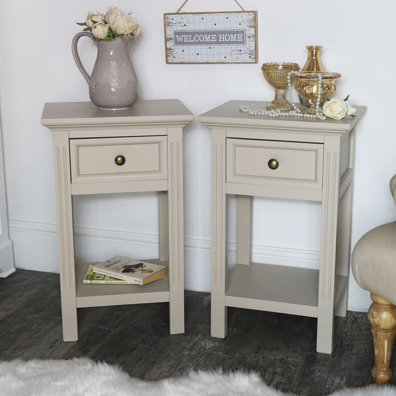 Pair of Grey Slim Bedside Tables - Daventry Taupe-Grey Range