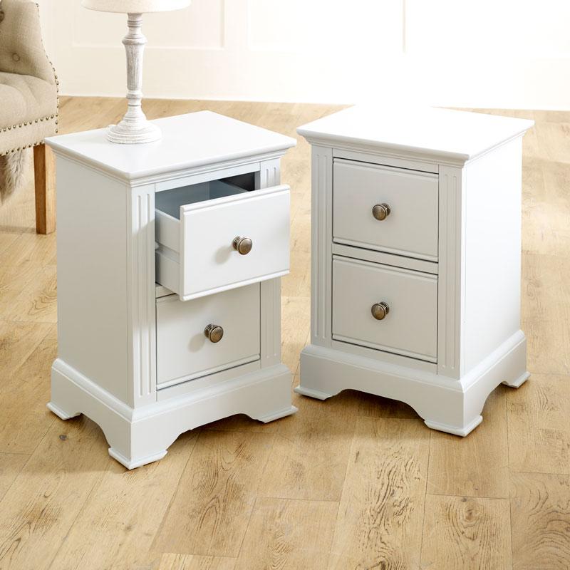 Pair of Slim Grey Bedside Tables - Davenport Grey Range