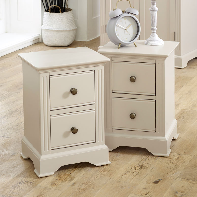 Pair of Slim Taupe-Grey Bedside Tables - Davenport Taupe-Grey Range