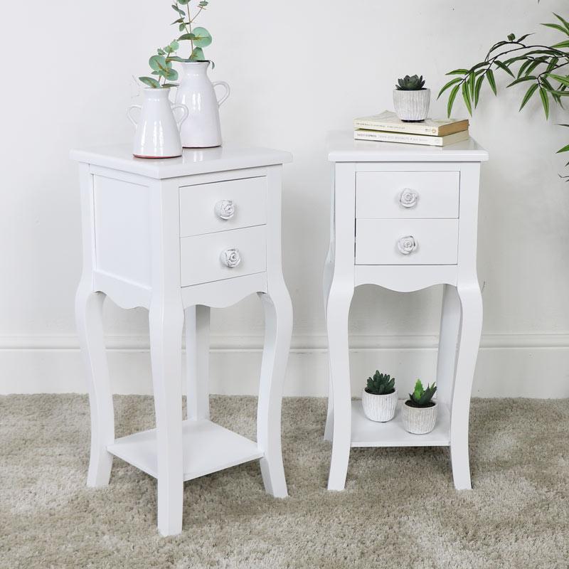 Pair of Slim White 2 Drawer Bedside Table - Lila Range
