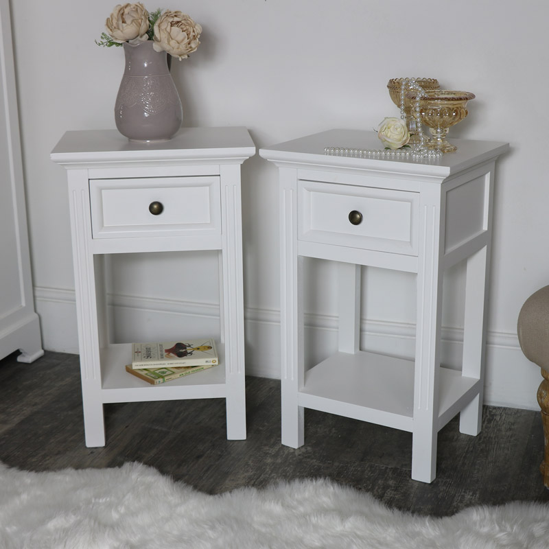 Pair of Slim White Bedside Tables - Daventry White Range