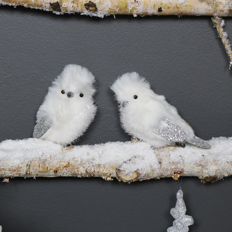 Pair of Snowy White Bird Clips