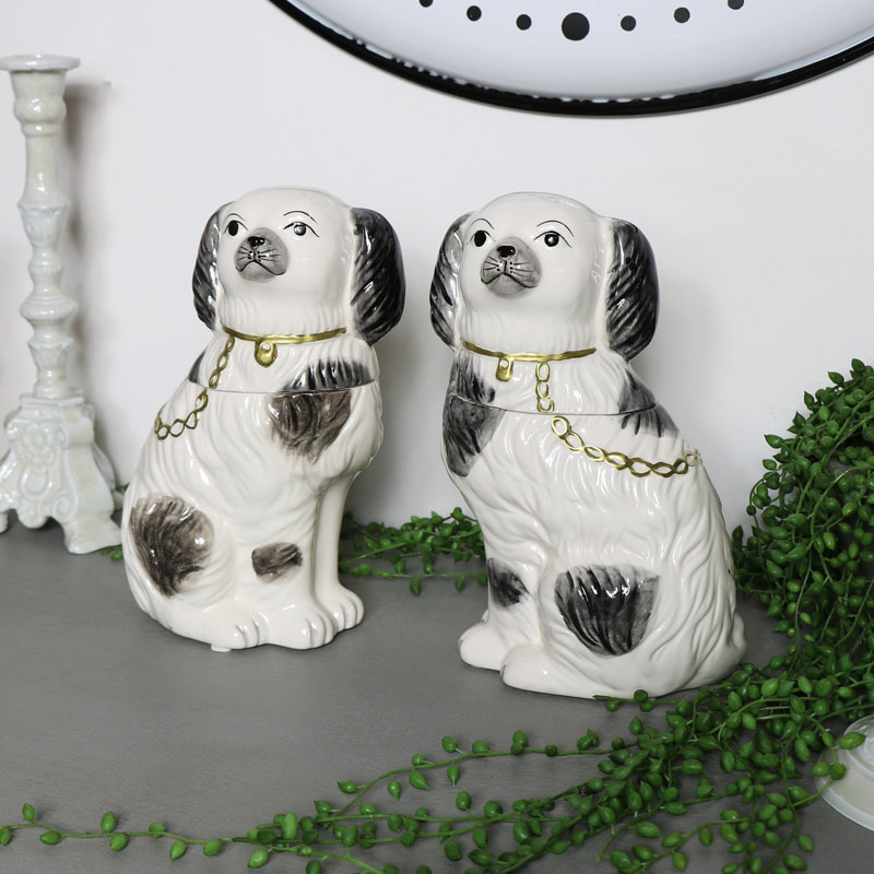 Pair of Staffordshire Dog Trinket Pots