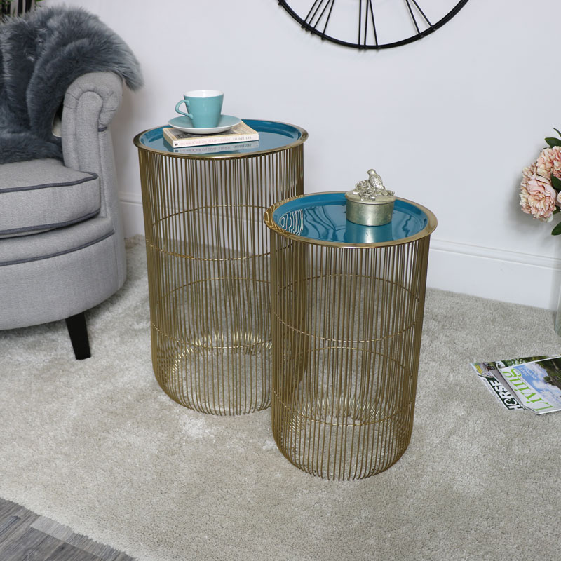Pair of Tall Green & Gold Wire Side Tables with Basket Storage