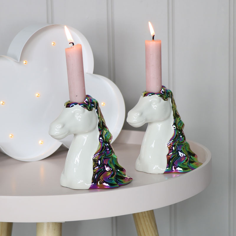 Pair of Unicorn Head Candlesticks