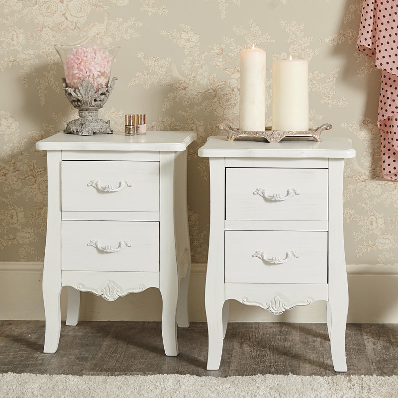 Pair of White 2 Drawer Bedside Chests - Jolie Range