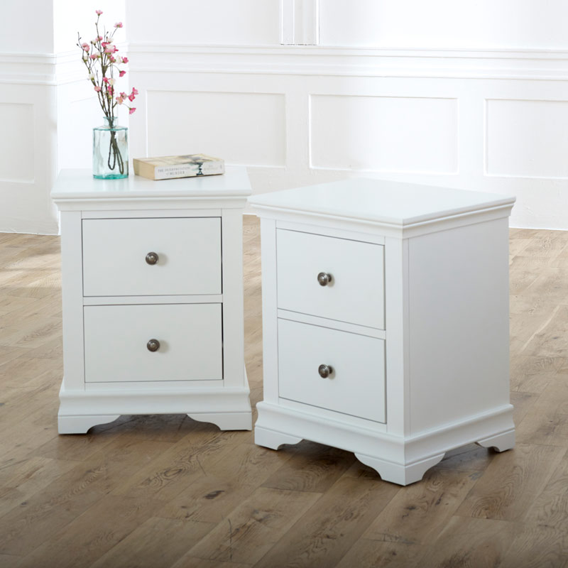 Pair of White Bedside Tables - Newbury White Range